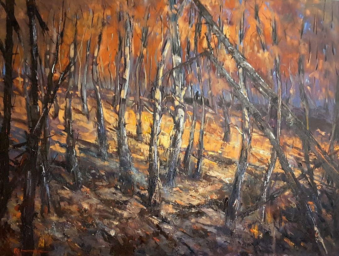 Annette Rennie After the fire Oil painting
