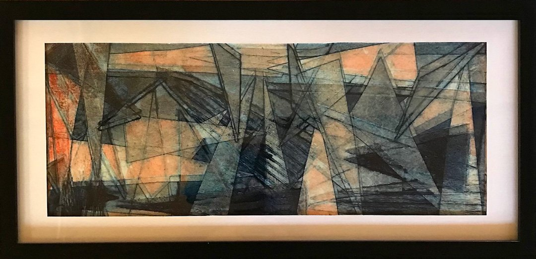 Banks Robyn | 2021 | Glow in the city | Collagraph print on paper | 25x52cm