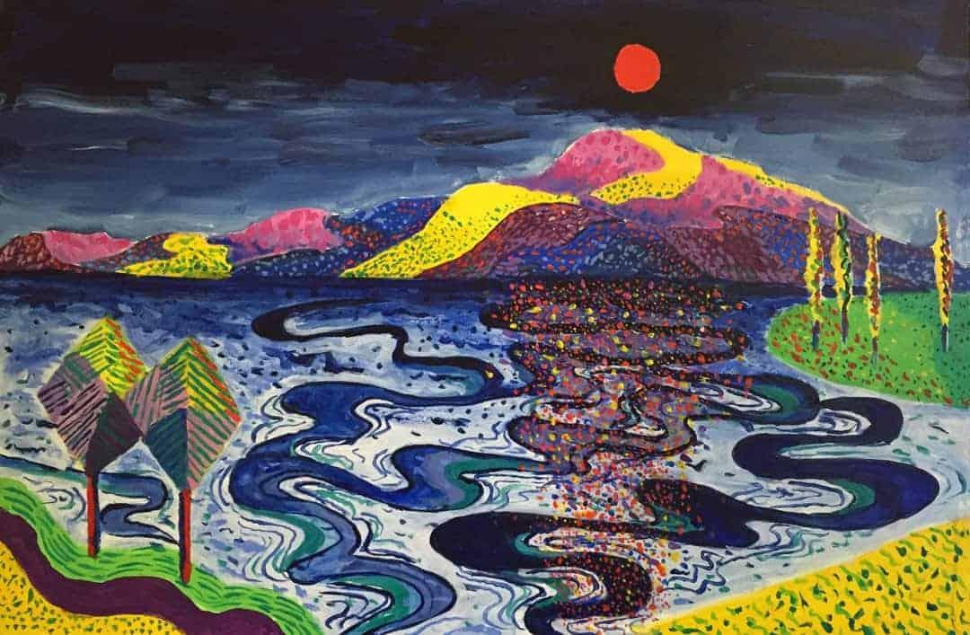 David Barrett   2021   Afternoon light on the lake   Acrylic on canvas   91x61cms