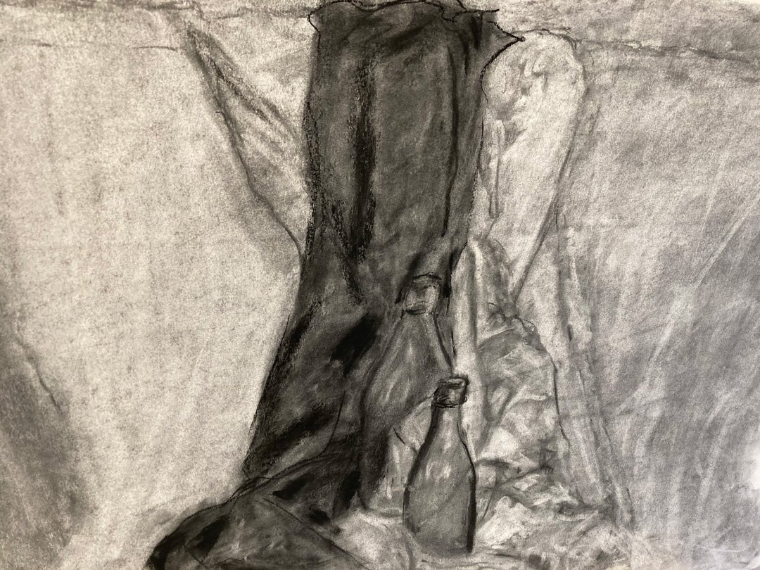 Richard Heaney | 2021 | Two bottles | Charcoal on paper | 50x70cm