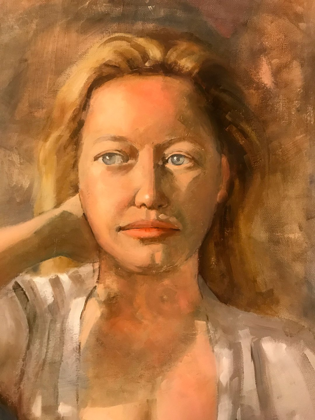 Graham Joyner   2021   Young woman in white gown   Oil on canvas   46x61cm