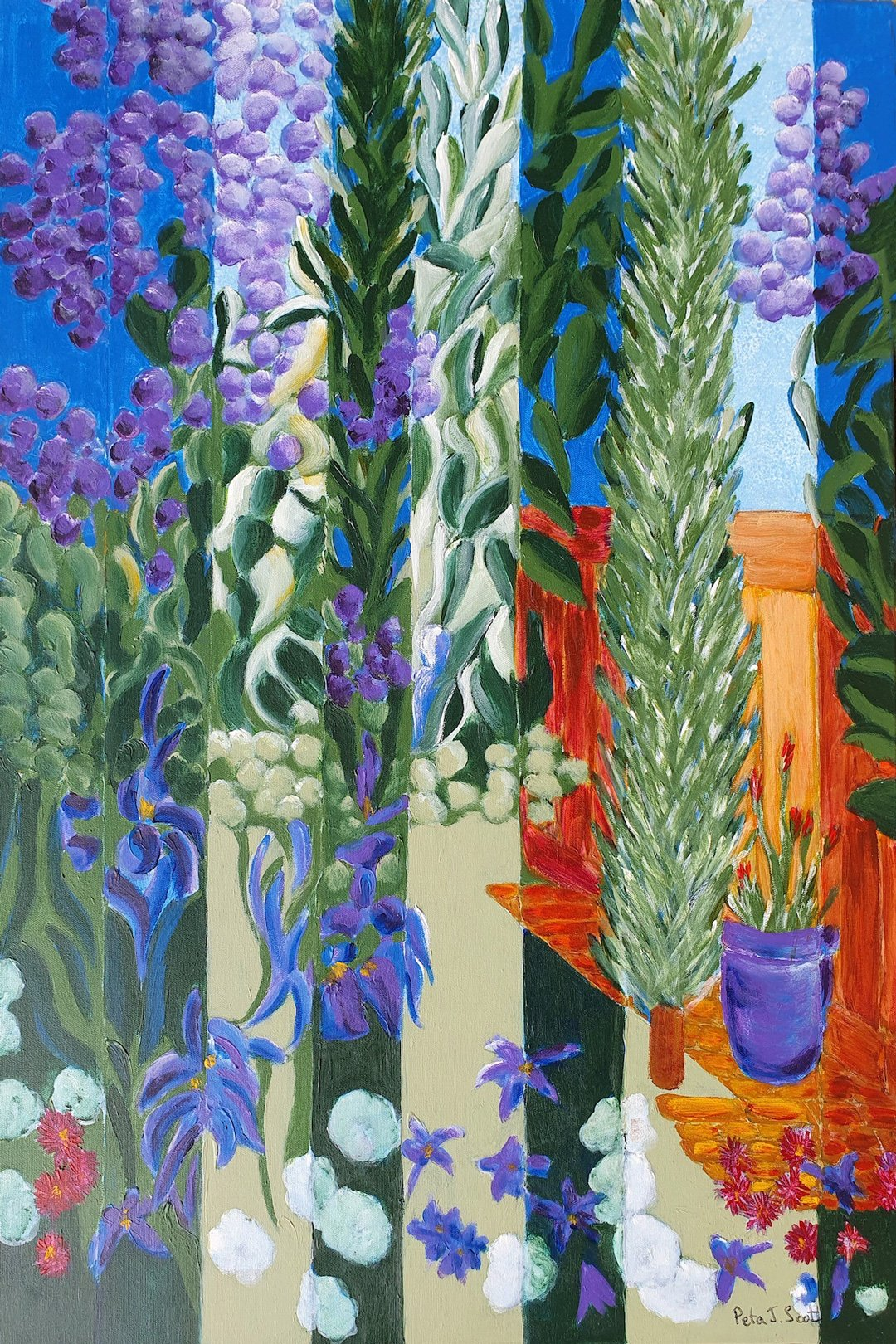 Peta Scott | 2021-Spring looking through the verticals II | AcrylicOnCanvas | 92x61cm