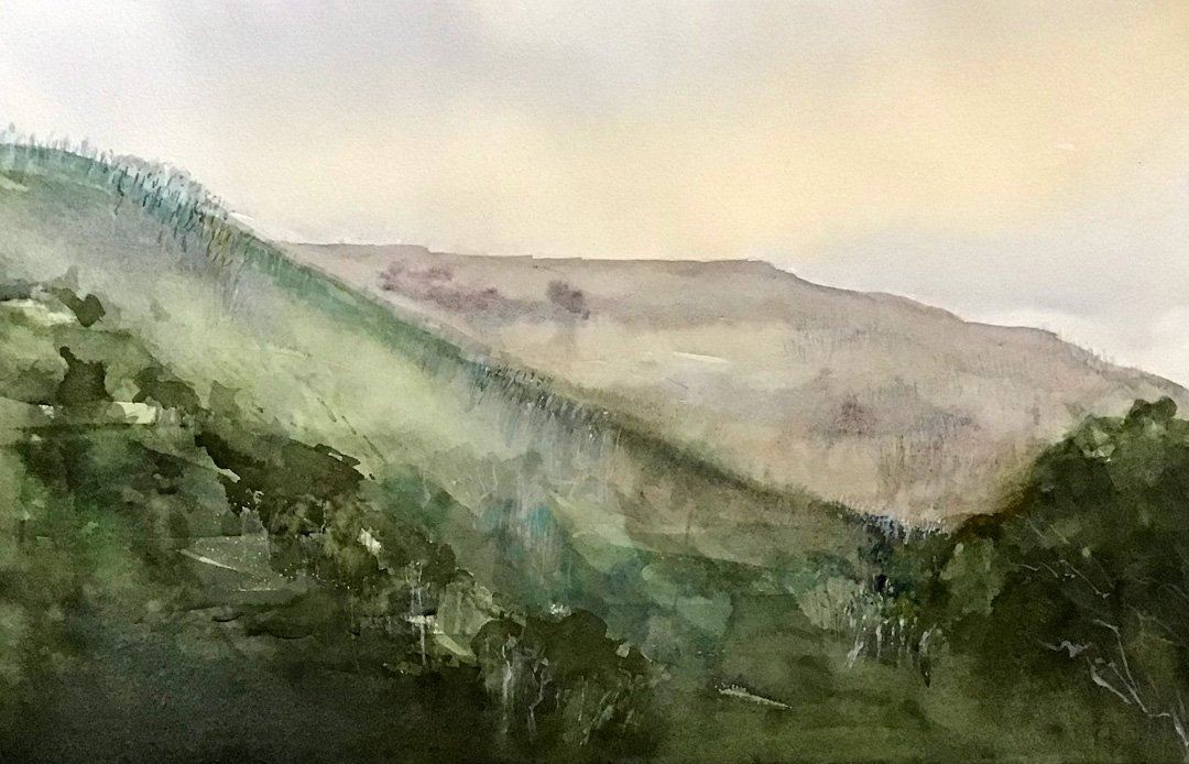 Judy Stevenson | 2021 | The hills near Corryong NSW | Watercolour on paper | 37.5X56cm
